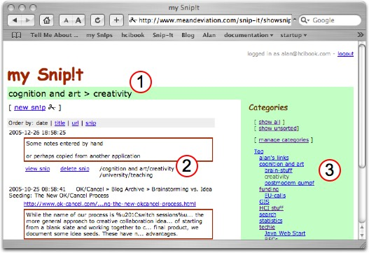 screenshot of MySnip!t showing classification